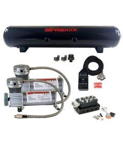 AccuAir VU4 Manifold Pewter 400 Air Compressors Black 7 Switch 5 Gallon Tank