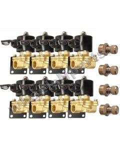 "Air Ride Suspension Brass Valves 1/2""npt (8) W/Mounts & Adjustable Slow Down"