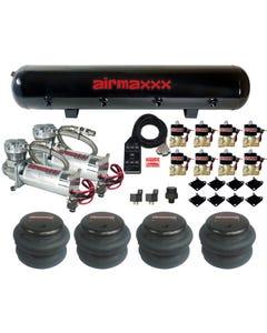 """Air Compressors Chrome Airmaxxx 480 1/2""""npt 2600 Air Bags Black 7 Switch Tank"""