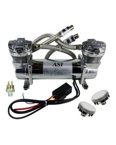 ASI Hydra Air Compressor Dual Head Chrome Air Suspension 90/120 Tank Pressure Switch