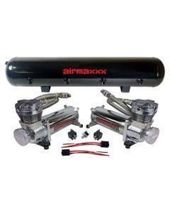 airmaxxx 480 Dual Chrome Air Compressors 5 Gallon Tank Air Bag Suspension 200 psi Kit