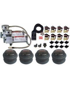"Pewter 400 Air Compressors 1/2""npt Valves 2600 Air Bags Black 7 Switch Box"