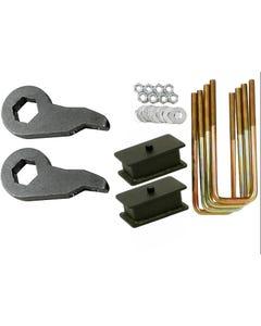 """Lift Kit Chevy Black Torsion Keys 2"""" Fab Steel Blocks 1992-99 4X4 8 Lug Trucks"""