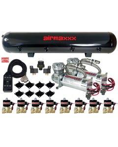 """airmaxxx Chrome 480 Air Compressors 1/2"""" Valves Air Ride Black 7 Switch Tank"""