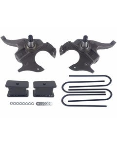 """S10 Drop Spindles & Fabricated Steel Blocks 2"""" Front 3"""" Rear Suspension Lowering Kit 2WD"""