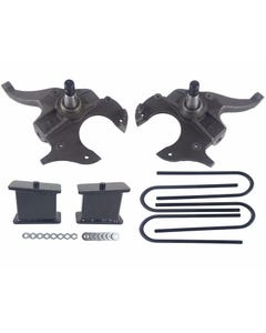 """S10 Drop Spindles & Fabricated Steel Blocks 2"""" Front 4"""" Rear Suspension Lowering Kit 2WD"""