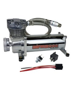 airmaxxx 480 Chrome Air Ride Compressor Single with 90/120 pressure switch