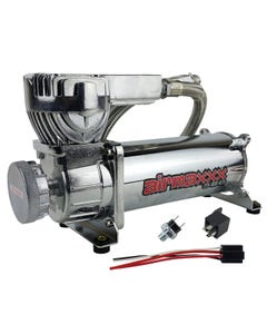 airmaxxx 580 Chrome Air Ride Suspension Compressor Single with 150/180 pressure switch