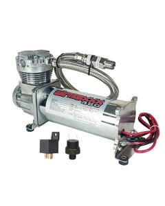 airmaxxx 480 Chrome Air Ride Compressor Single with165/200 pressure switch